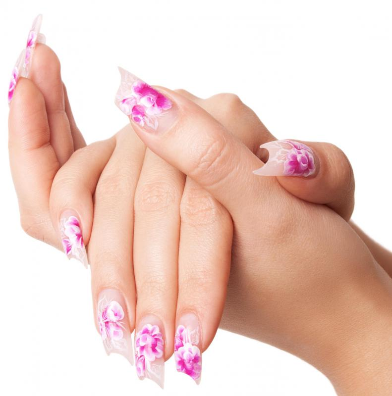 A woman with silk wrap nails.