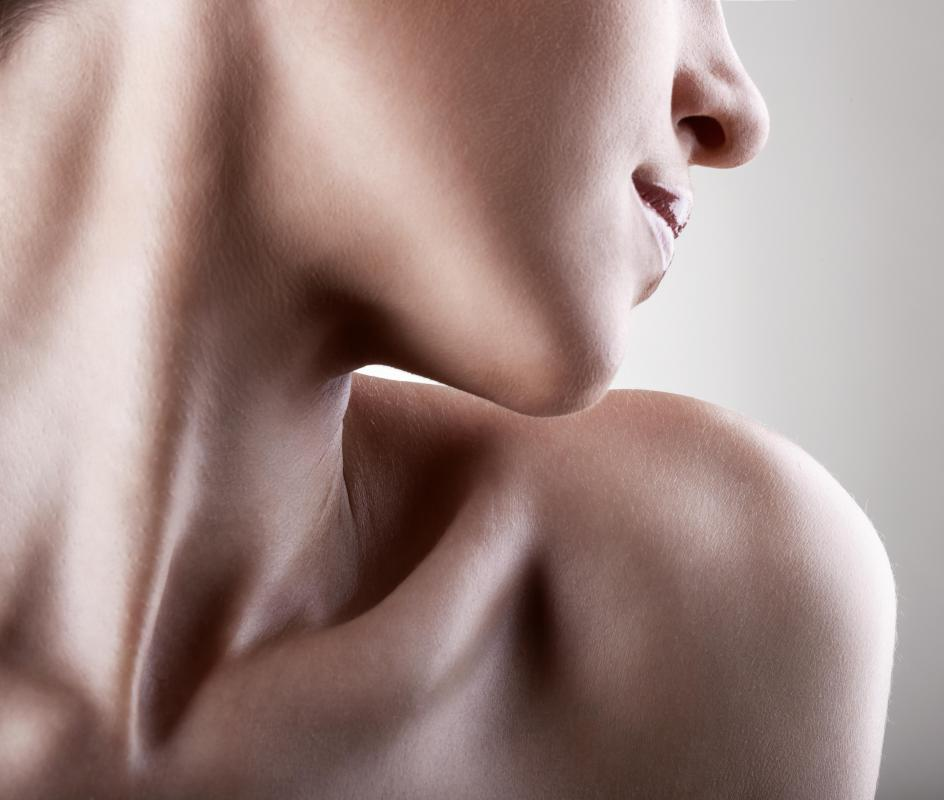 The clavicle, which connects the shoulder to the upper torso, is a horizontal bone that's visible on most people.