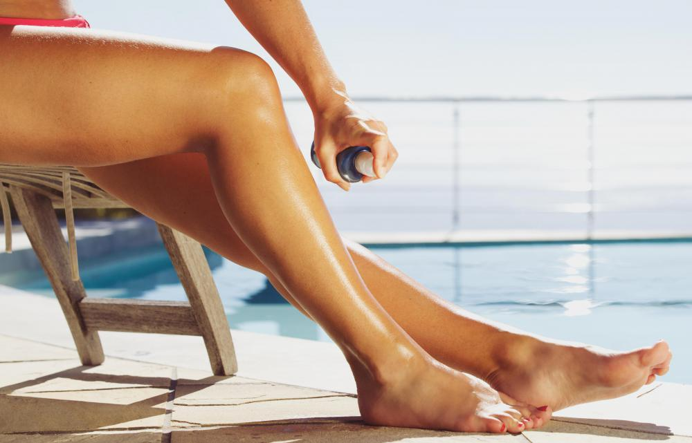 Tanning stickers may be used by someone using a spray tan.